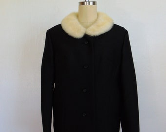 60s black jacket with white MINK COLLAR Jackie O style size large