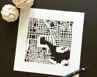 Baltimore or Annapolis hand cut map ORIGINAL, 10x10