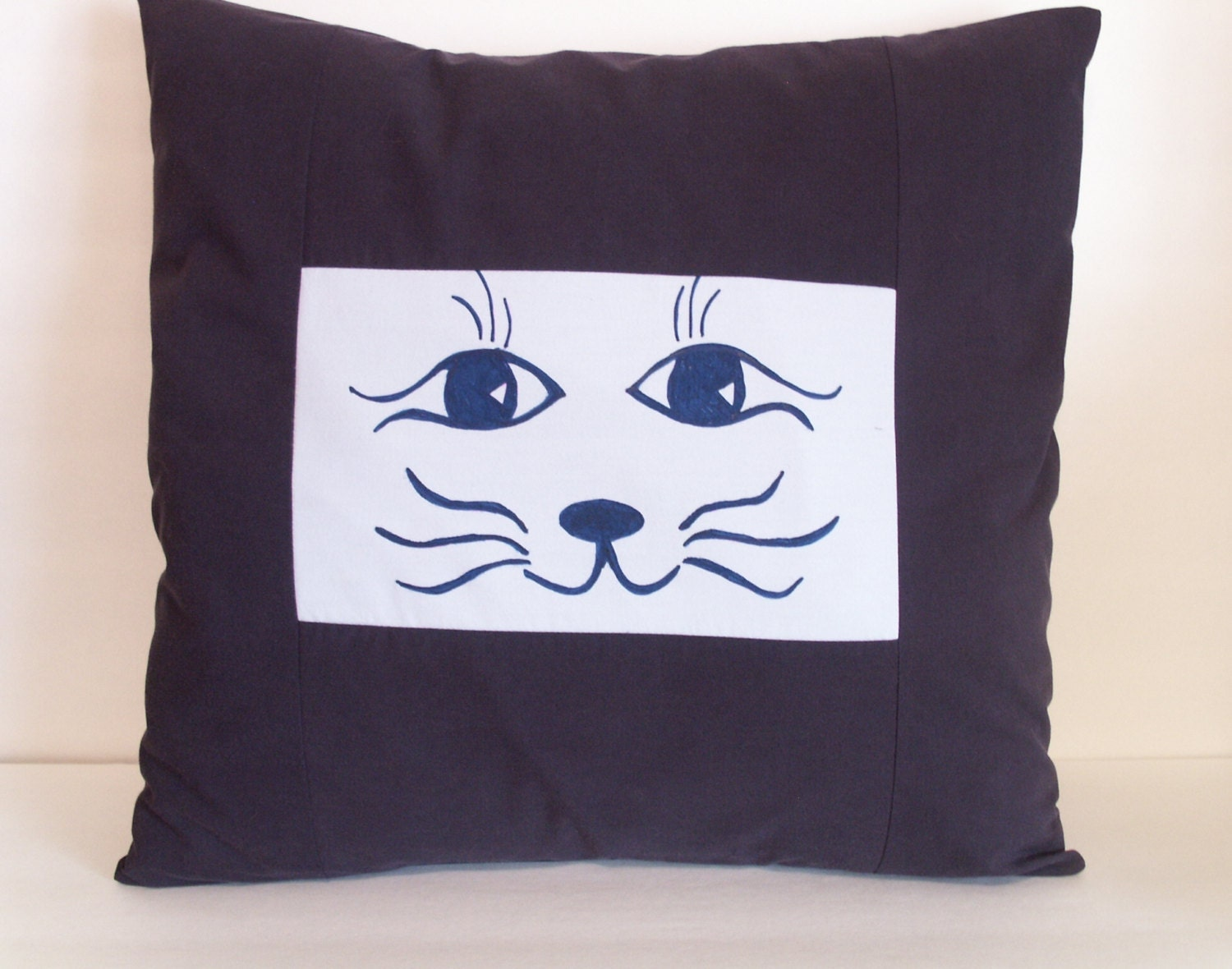 Kitty Throw Pillow : Throw Pillow Slip Cover / Kitty Cat Face / Hand Painted Miss