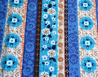 Vintage Fabric - Hawaiian Bark Crepe Floral Tole Stripe - By the Yard