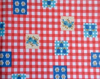 Vintage Fabric - Raspberry Red Check Tulips Broadcloth - 45 x 38