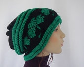 Knit slouchy beanie with shamrock / St.patrick's day / gift idea / unisex hat
