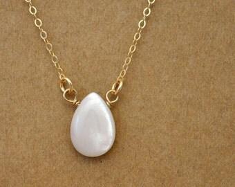 gold rain drop necklace, RAINING DAY, teardrop necklace, rain drop, clear water, petite water drop necklace in 12k gold filled
