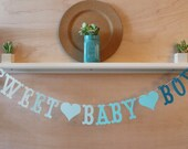 Sweet Baby Boy Banner - Blue Ombre - Baby Shower Decoration or Photo Prop