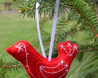 Red and White Hand Embroidered a Felt Bird Ornament