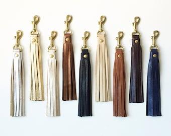 Leather Tassel Keychain, Tassel Purse Charm, Leather Key Fob, Tassel Handbag Charm, Tassel Keychain Charm, Metallic Leather Tassel Keychain