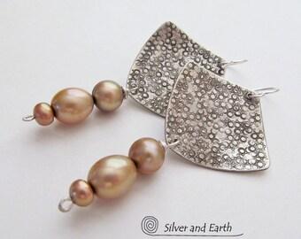 Sterling Silver Earrings, Gold Pearl Earrings, Handmade Artisan Silver Jewelry, Gift for Her, Pearl Dangle Earrings, Elegant Modern Earrings