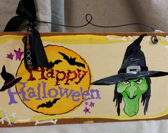 witch Halloween wooden sign hand painted damaged