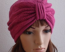 Raspberry Knitted Women's Turban Hat, Knitted Fashion Turban Hat for Women, 50s Style Beanie,  Knit Beanie, choose your colour
