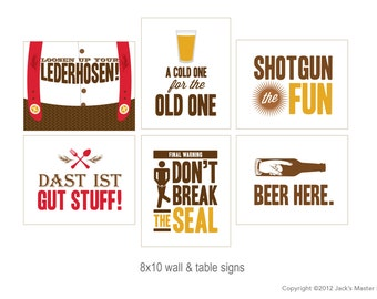 8x10 Beer Tasting Party Signs