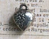 Antique Silver Heart/Brain Charms 10mm, set of 10.