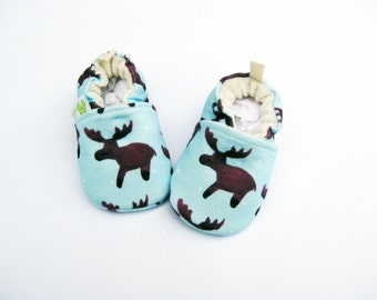 Organic Knits Vegan Watercolor Moose in Blue All Fabric Soft Sole Baby Shoes Booties Boy