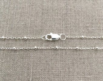 """16 or 18"""" Sterling Silver Satellite Necklace - Dew Drop Necklace - Layering Necklace - Satellite Chain - Silver Bead Necklace - SD"""