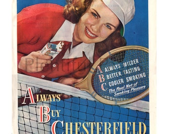 1946 Chesterfield Cigarettes Vintage Ad, Retro Cigarette Ad, 1940's Tennis, Advertising Art, Chesterfields, 1940's Fashion, Great to Frame.