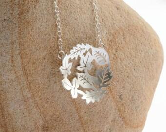 Silver Leaf Necklace - Dancing leaves Necklace - Handmade Silver Necklace - Circle of silver leaves