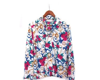 BTS SALE Vintage 80s TIMEPIECE Boho Chic Floral Print Blouse s m l