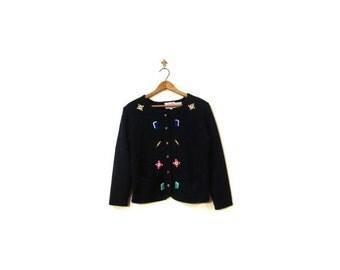 BTS SALE Vintage 80s Black Knit Book Worm Button Up Cardigan Sweater women s m nerd geek preppy embroidered indie hipster vestiesteam granny