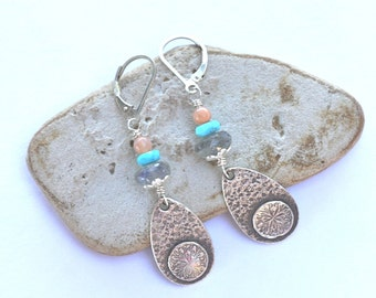 Sterling Earrings with turqouise labradorite and moonstone