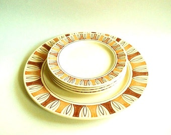 Taylorstone Etruscan 5 Piece Plate Set Rust Brown and Cream - Mid Century Tiki Vibe