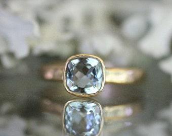 Genuine Aquamarine 14K Yellow Gold Ring, Gemstone Ring, Cushion Shape Ring, Eco Friendly, Engagement Ring, Stacking Ring - Made To Order