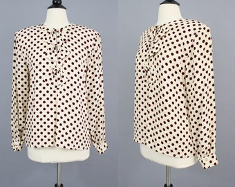 vintage Silk Polka Dot Bow Secretary Blouse / 1980s Cream Navy Red Bullseye Print Long Sleeve Top / Medium