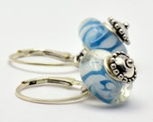 Interchangeable Large Hole Bead Turquoise and Blue Sterling Silver (.925) Earrings