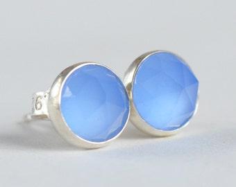blue chalcedony 6mm rose cut sterling silver stud earrings pair