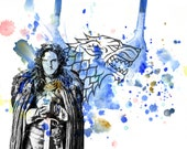 Game of Thrones Jon Snow Poster Print From Original Watercolor Painting - 8 X 10 in. Print Game of Thrones Print