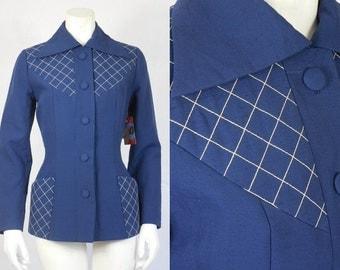 1950's Vintage Lilli Ann Blue Silk Jacket