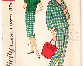 Vintage 1958 Simplicity 2698 Sewing Pattern Junior's and Misses' Blouse, Pants and Skirt Size 11 Bust 31-1/2