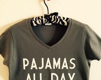 Pajamas All Day Ladies V-Neck T-Shirt  FREE SHIPPING