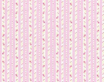 Petit Fleur Cotton Fabric Tiny Rose Pink Ticking by Lecien 31217-20