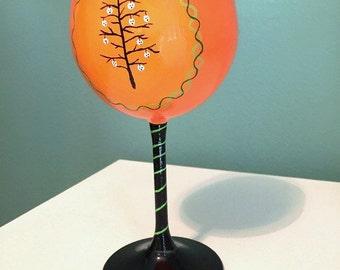 Orange and Black Creepmas Wine Glass - Halloween