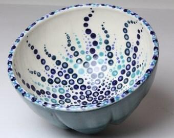 Melon Shape Porcelain Bowl - Blue and Green