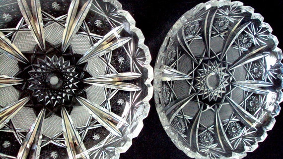 Vintage  EAPG Imperial Glass Dishes, Nut/Candy /trinket,Hobstar and Ray Pattern Cr 1918,  set  of two,Dining and Serving,Cut glass