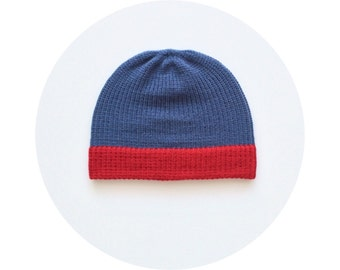 Red blue beanie, mens knit hat, winter accessory FREE SHIPPING