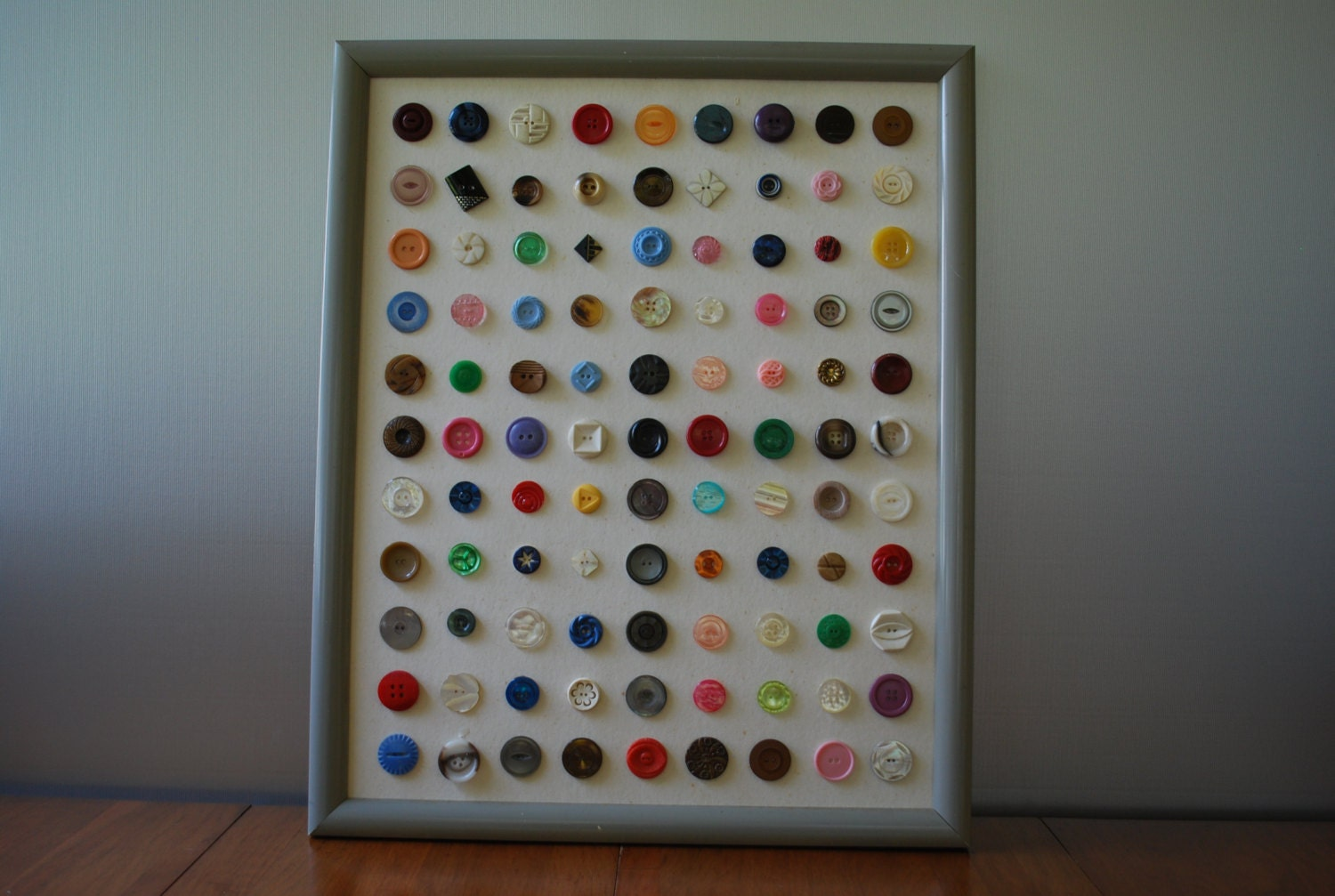 Wall Art For Craft Room : Button art vintage sewing room wall decor craft
