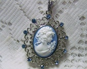 Jane Austen Pendant, SENSE and SENSIBILITY, Portrait Cameo Necklace, Southern Belle, Blue and White, Blue Crystal Lady, EMMA, Wedgewood Blue