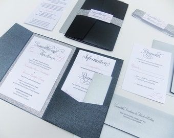 Black and Silver Glitter Wedding Invite -- Pocketfold Wedding Suite, Belly Band Invite