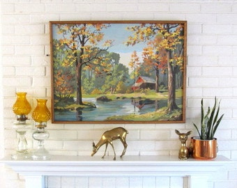 Vintage Paint By Number, Autumn Country Barn and River Scene, Extra Large Size Living Room Picture, Framed, Mid Century