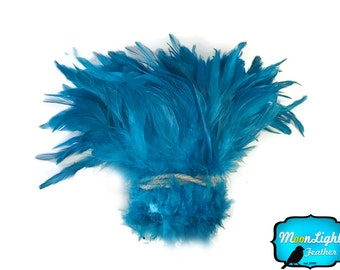 Dream Catcher Feathers, 1 Yard - TURQUOISE BLUE Dyed Strung Rooster Schlappen Wholesale feathers (bulk) : 3964