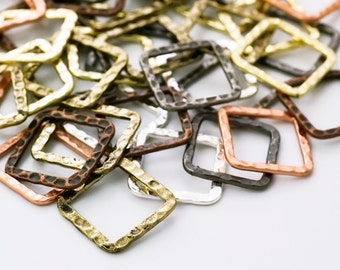 7 Hammered Square Components  - 16mm - 7 Finishes - 100% Guarantee