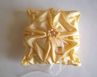 Yellow  hand smocked  pillow.  Wedding Ring Bearer Pillow
