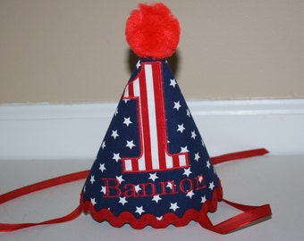 all star boys first birthday hat, boys 1st birthday hat navy blue with white stars red accents cake smash outfit