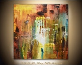 Original Abstract Painting Large Modern Textured Square Oil Painting Earth Tones Abstract Art High Gloss 36 x 36 Sky Whitman