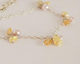Cluster Gemstone Necklace, Pearl Gemstone Necklace, Modern Pearl Necklace, Keshi Pearls, Citrine Gemstones, Pink Pearls, Yellow Pearls