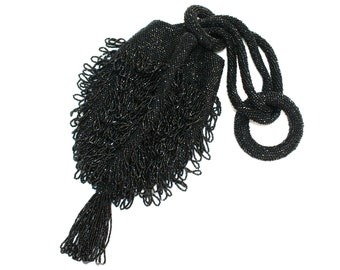1920's Black Beaded Flapper Purse With Tassel