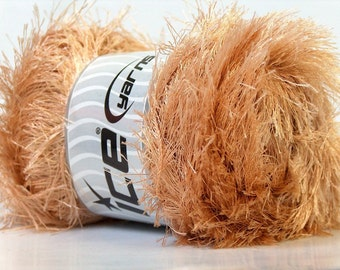 LG 100 gram Beige Eyelash Yarn Ice Fun Fur 164 Yards 22704