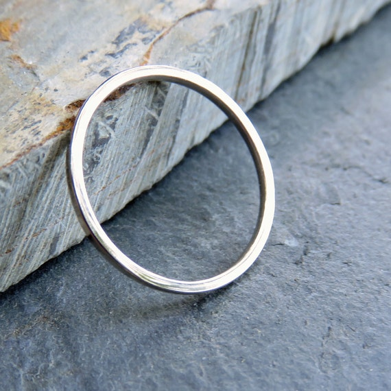 thin palladium white gold square wedding band 1mm solid 14k