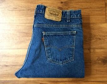Vintage Men's 80's Levi's 517, Jeans, Dark Wash, Denim, Straight Leg, Orange Tab (W34 x L33)